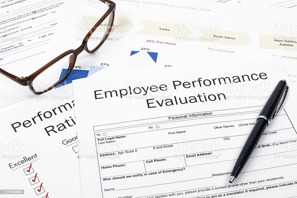 Employee performance evaluation sheet royalty-free stock photo