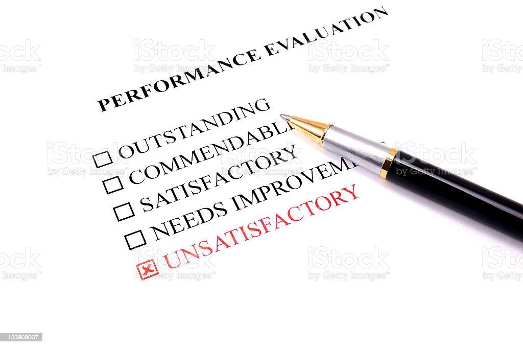 employee performance evaluation - unsatisfactory stock photo