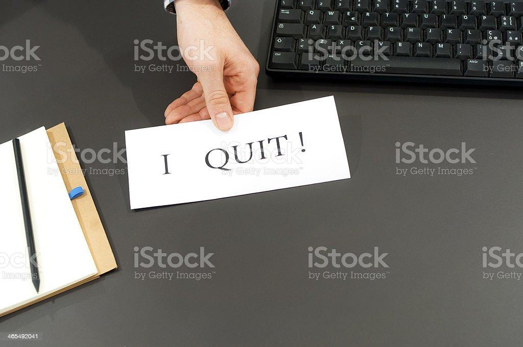 I QUIT! Employee quitting work stock photo