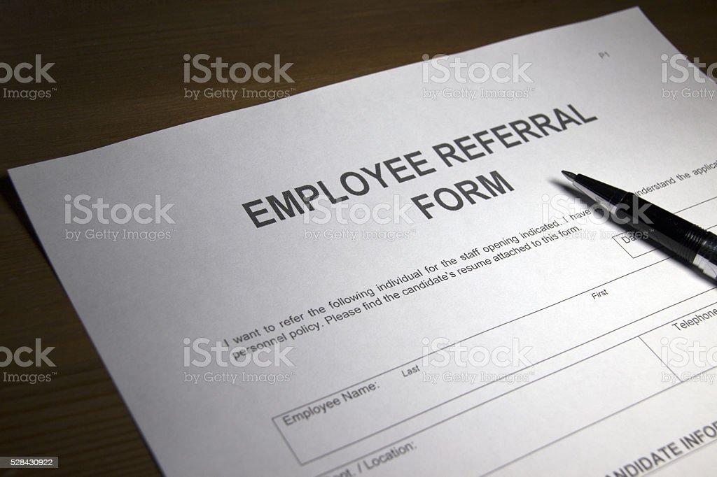 Employee Referral Document stock photo