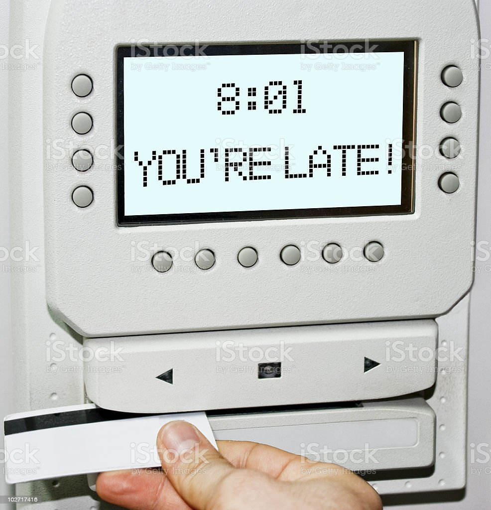 Employee seeing you are late sign stock photo