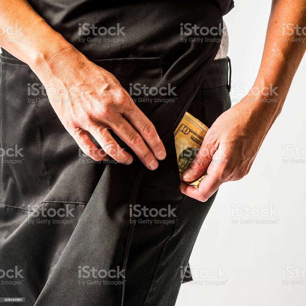 Employee stealing money. stock photo