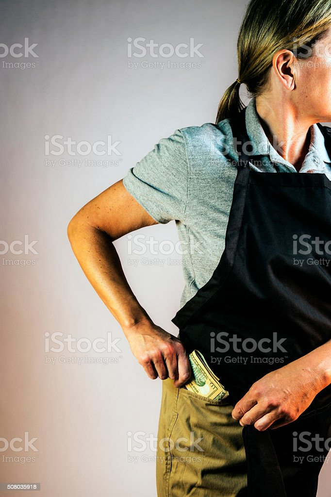 Employee theft, loss prevention concept. stock photo