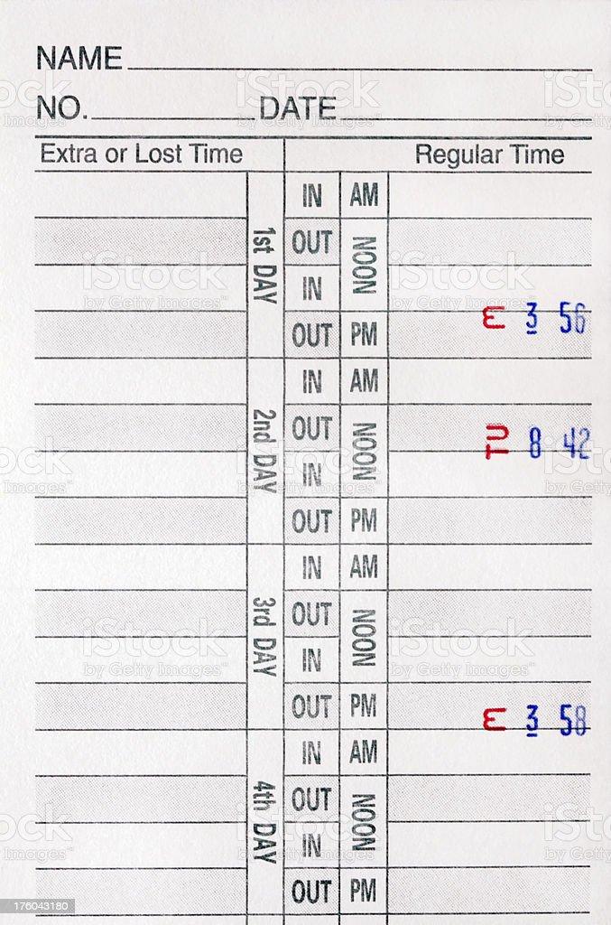 Employee Time Card stock photo