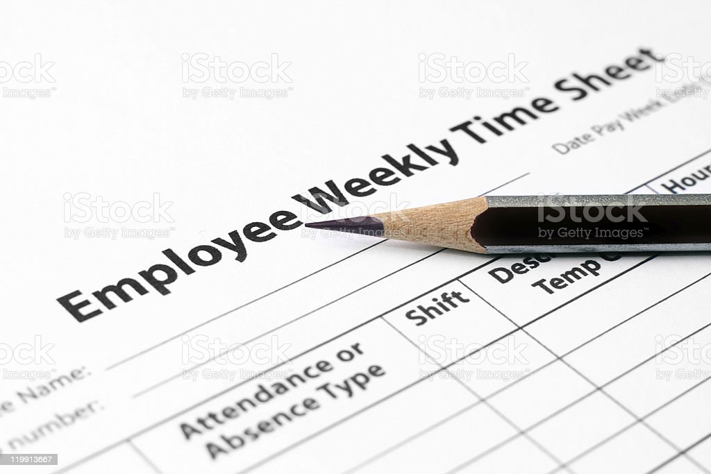 Employee weekly time sheet stock photo