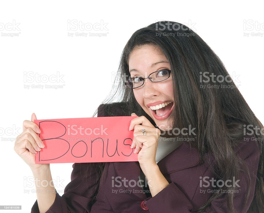 Employee with bonus envelope royalty-free stock photo