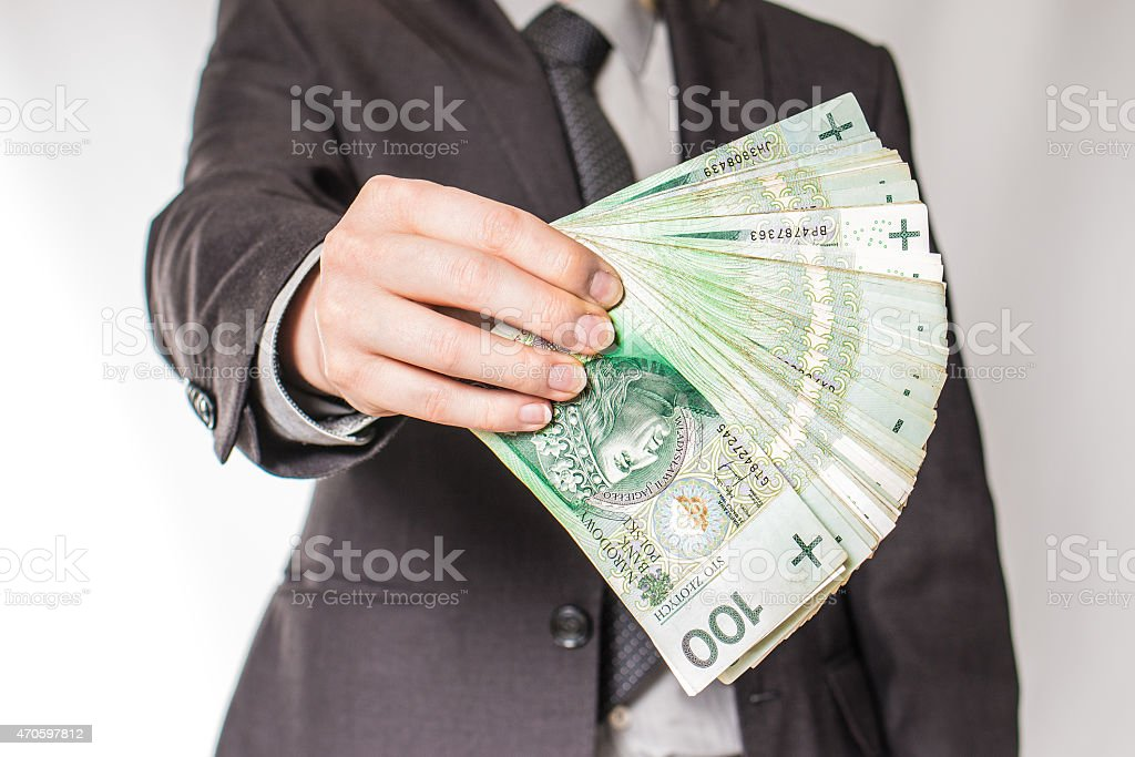 Employeer giving money stock photo