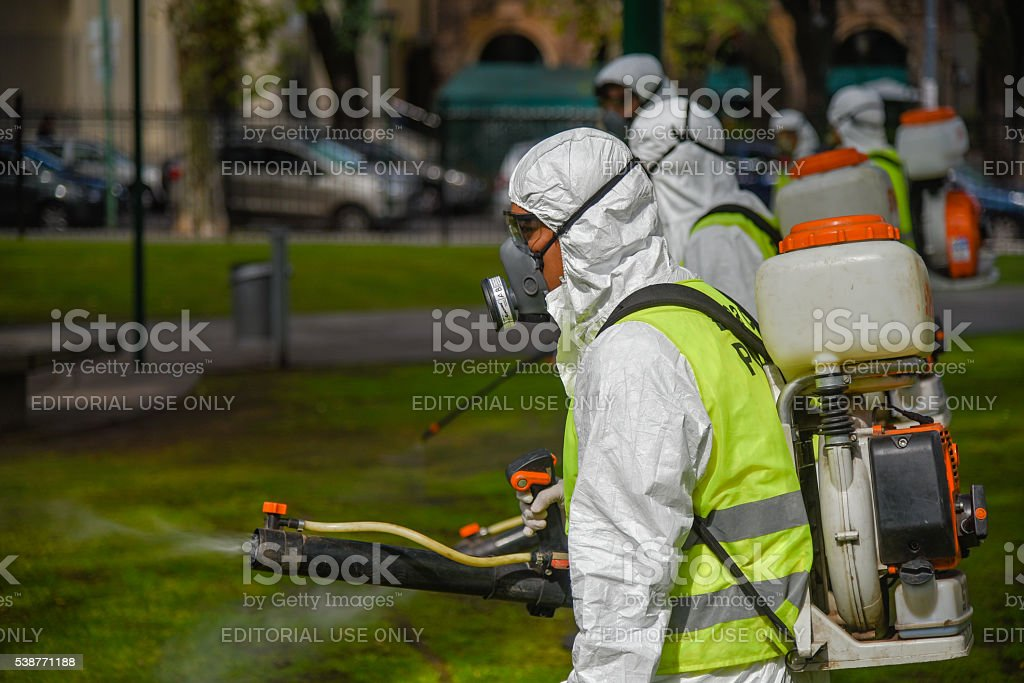 Employees fumigate for Aedes aegypti mosquitos stock photo