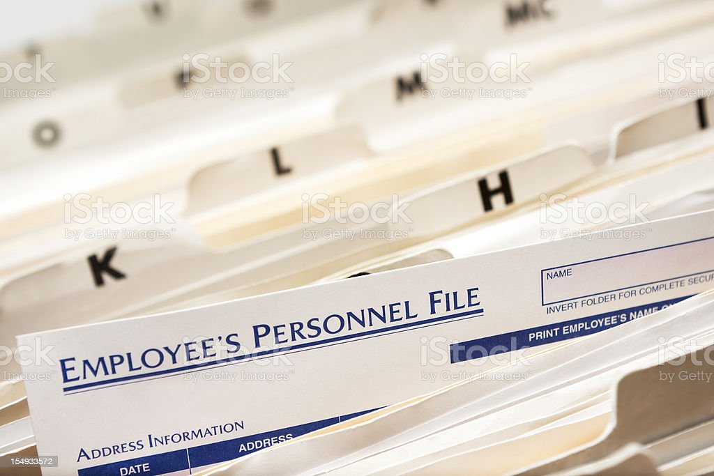 Employee's Personnel File stock photo