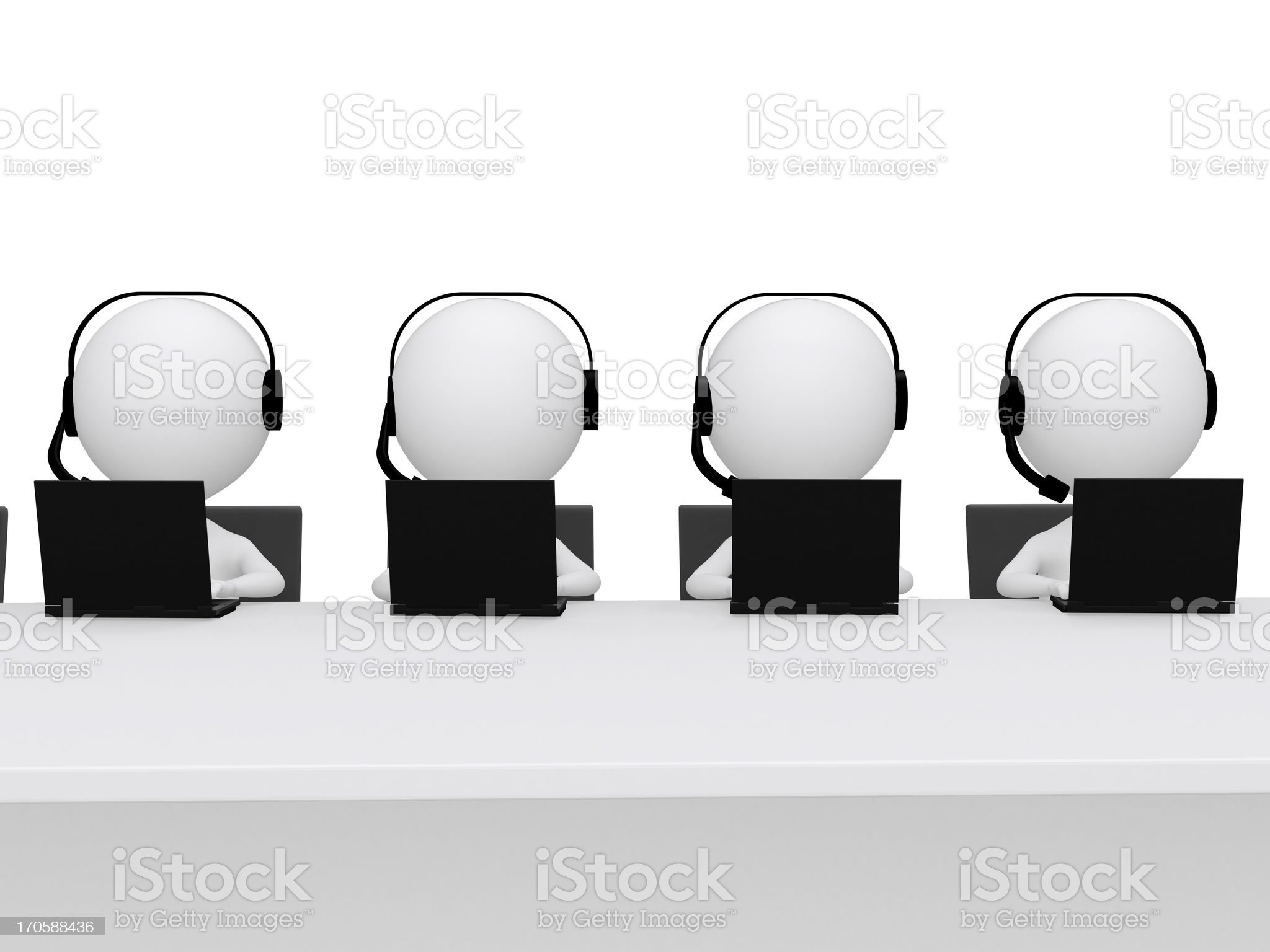Employees working in a call center royalty-free stock vector art