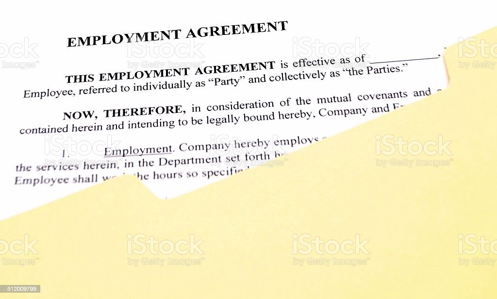 Employment Agreement in File Folder stock photo