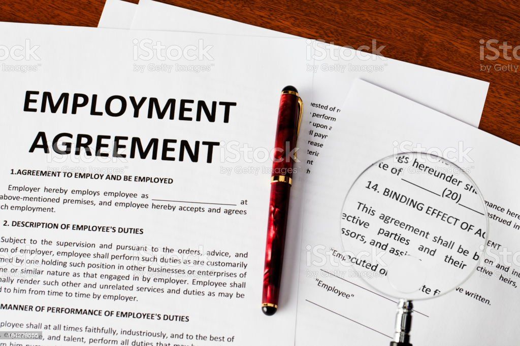 Employment agreement stock photo