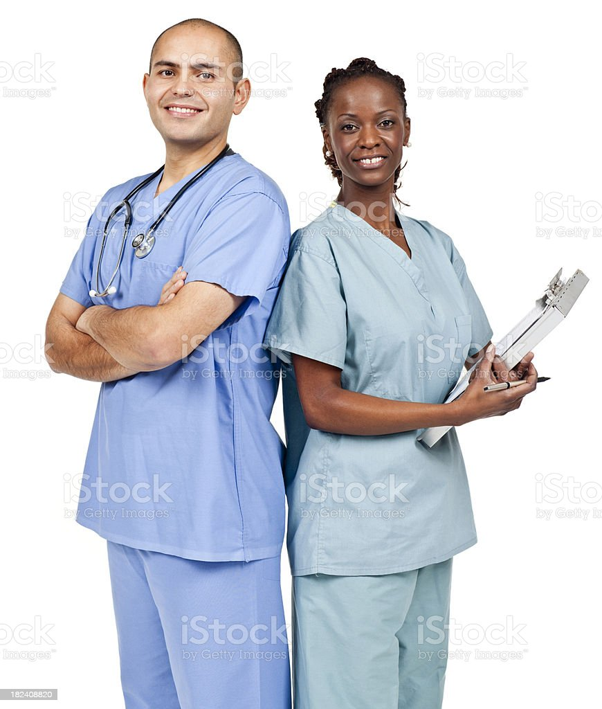 Employment & Jobs: Diverse Nurses (Isolated) royalty-free stock photo