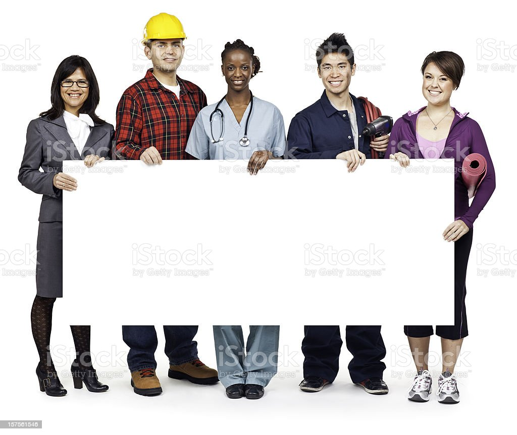 Employment & Jobs: Group Portrait with Blank Sign (Isolated; XXXL) royalty-free stock photo
