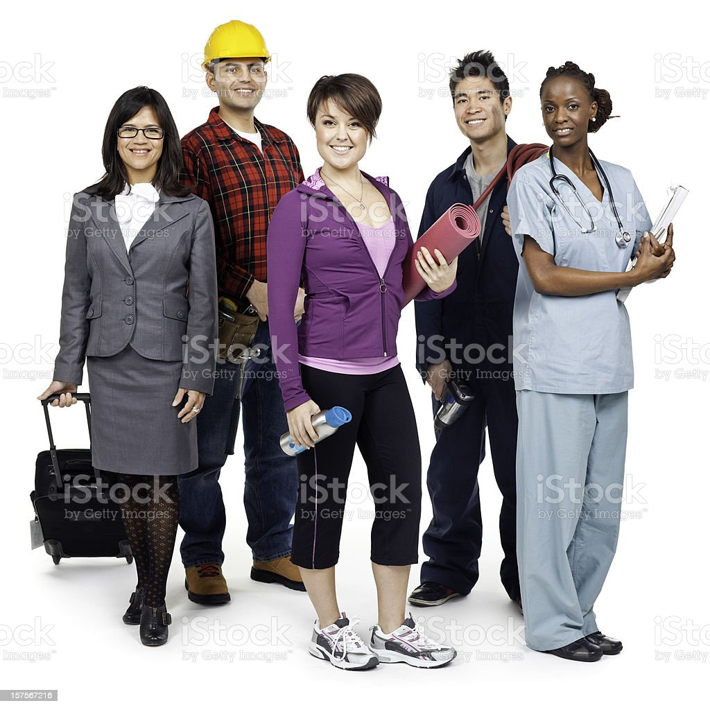 Employment & Jobs: Various Occupations (Isolated; XXXL) royalty-free stock photo
