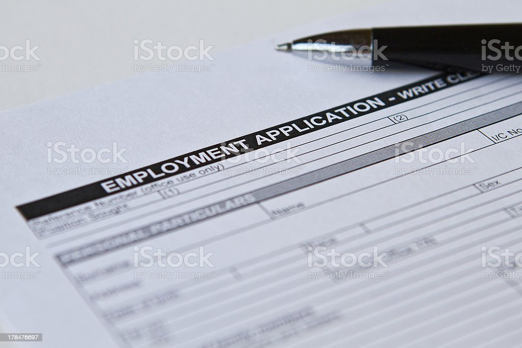 Employment Application Form royalty-free stock photo