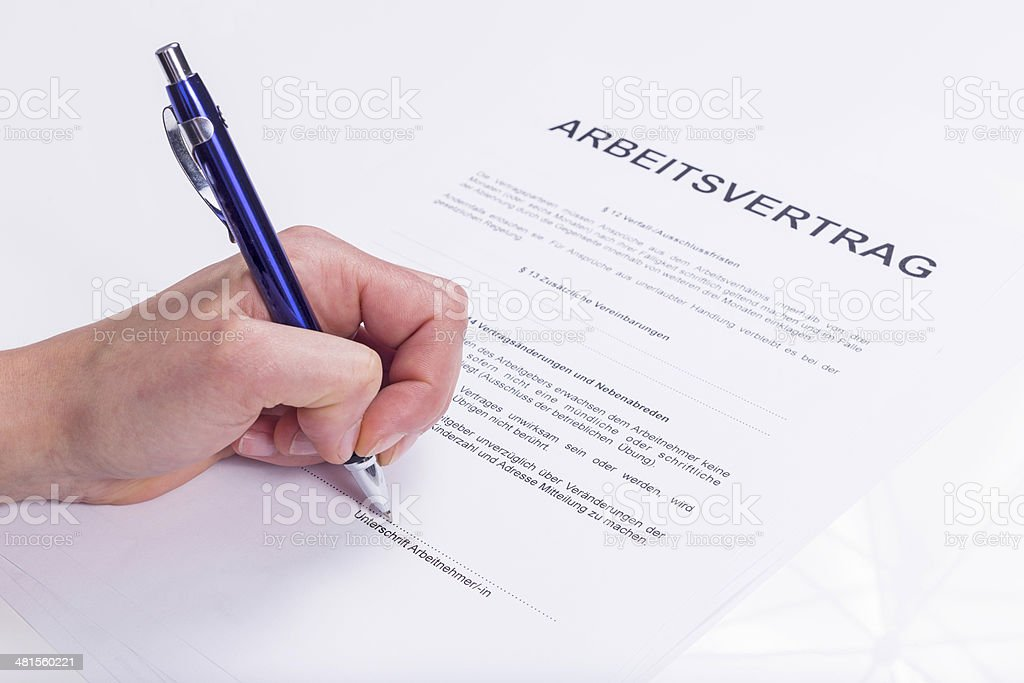 Employment contract stock photo