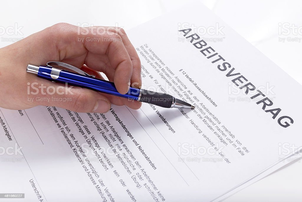 Employment contract stock photo