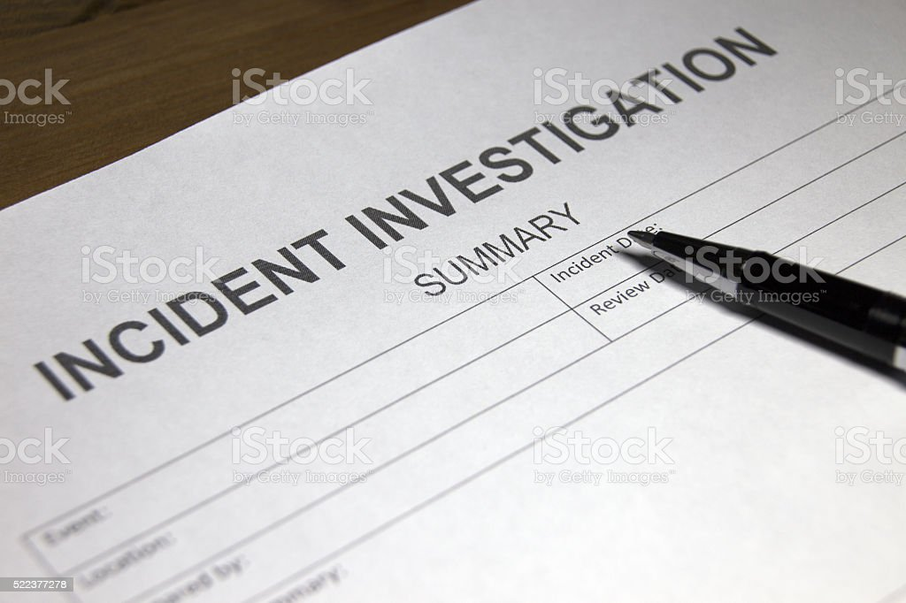 Employment Incident  Investigation Form stock photo