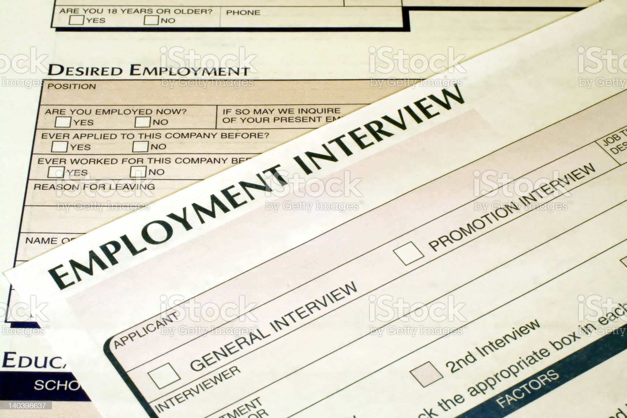 Employment Interview Form royalty-free stock photo