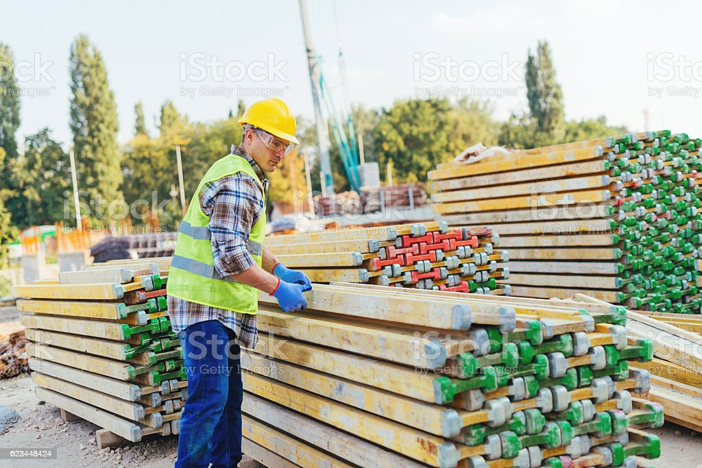 Employment on the construction site stock photo