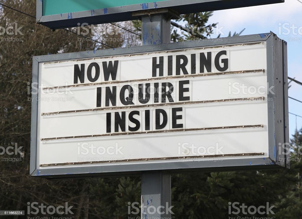 Employment Sign On Reader Board stock photo