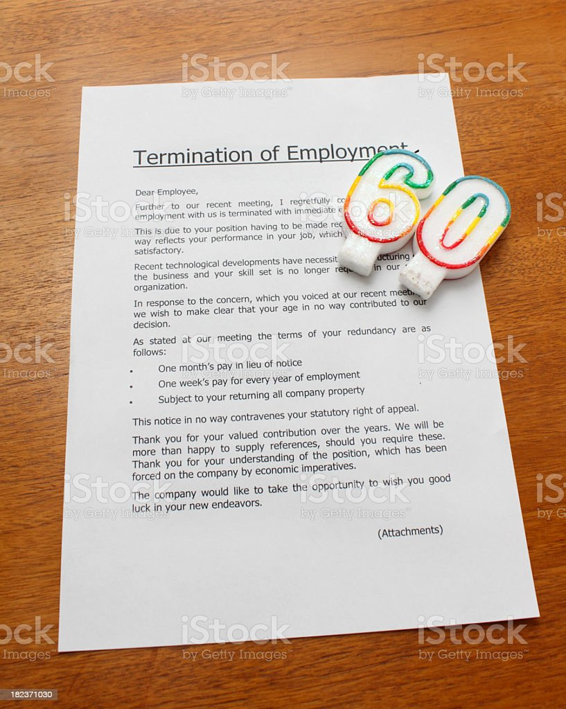 employment termination letter on sixtieth birthday stock photo