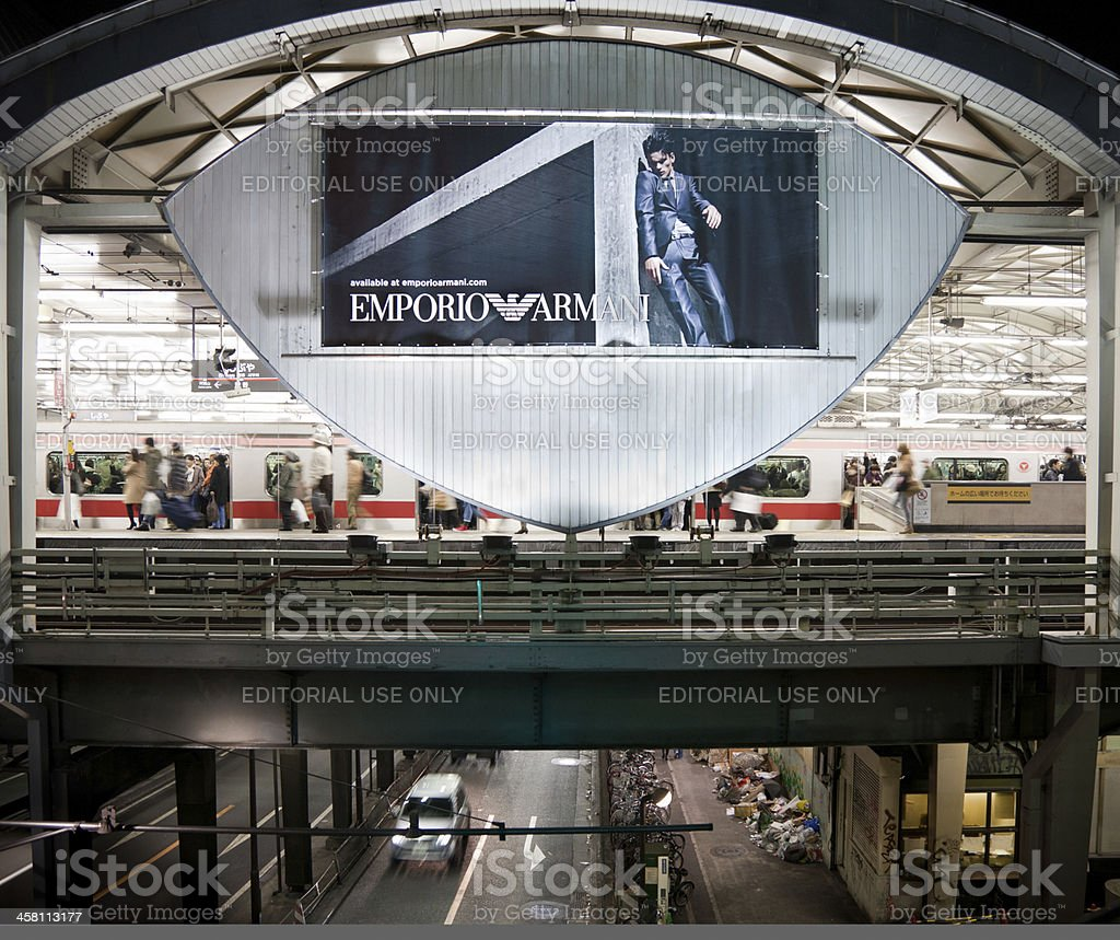 Emporio Armani advertising sign in Tokyo royalty-free stock photo