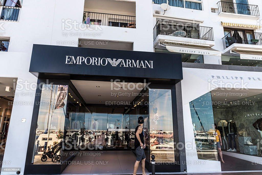 Emporio Armani shop in Puerto Banus, Andalusia, Spain stock photo