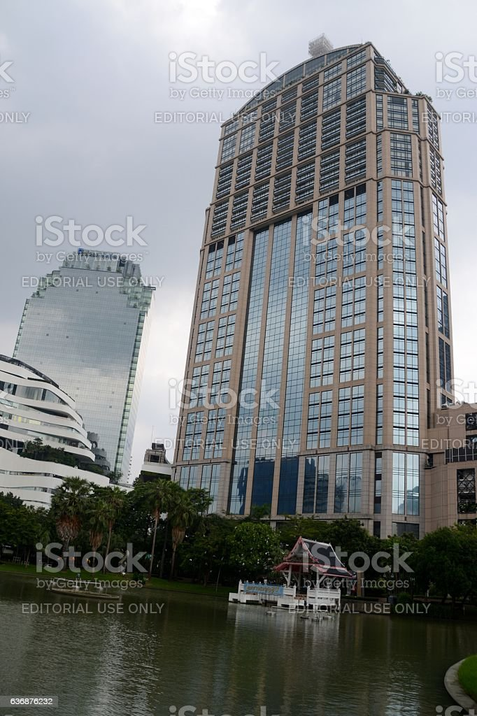 Emporium Tower and Benjasiri Park, Bangkok - Thailand stock photo