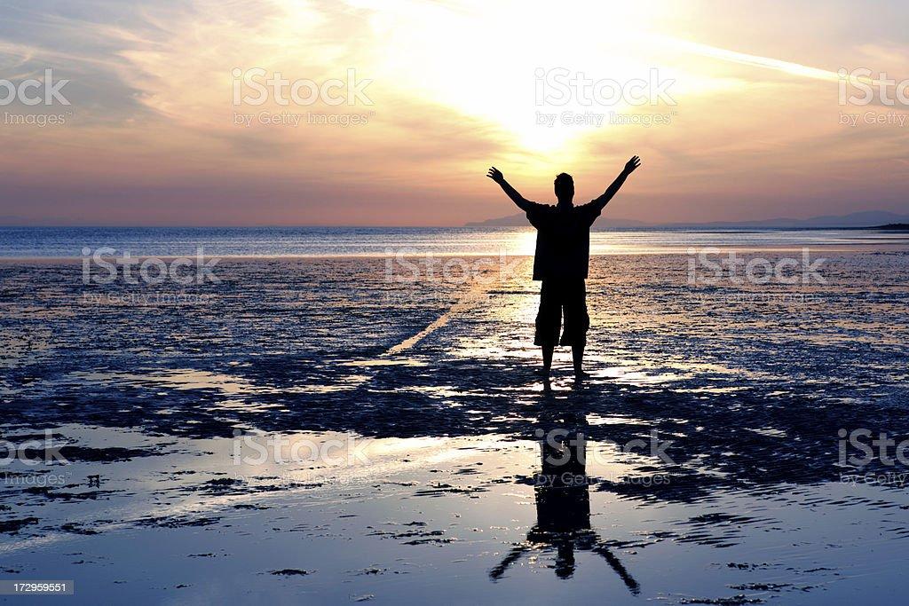 XL empowered man silhouette stock photo
