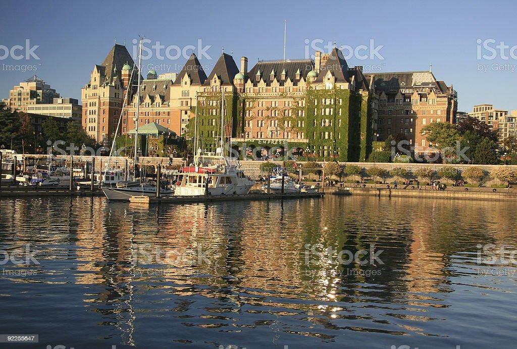 Empress Hotel and Victoria Harbor stock photo