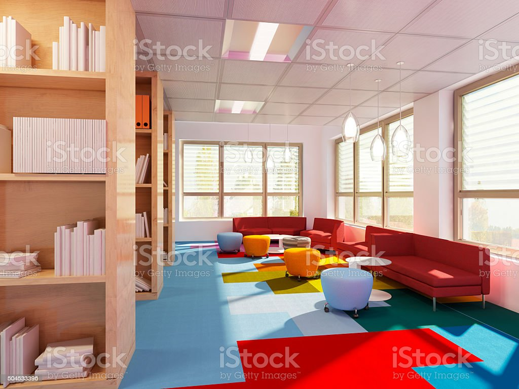Empry library in modern school stock photo