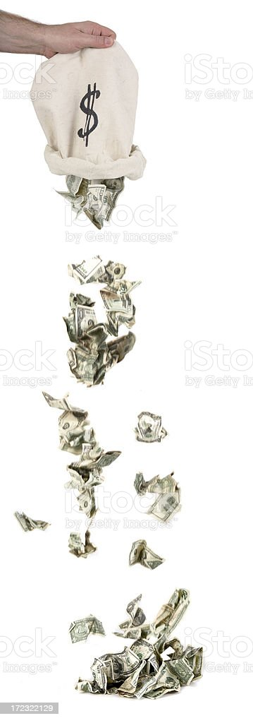 Empting Money Bag stock photo