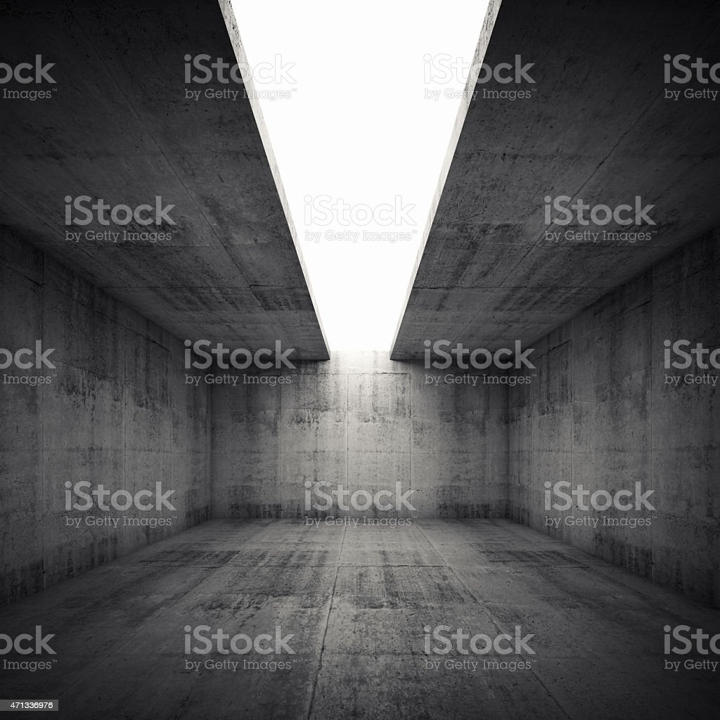 Empty 3d concrete room with white opening in ceiling stock photo
