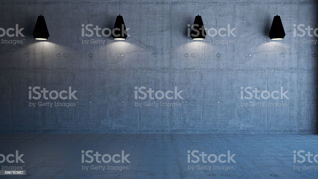 empty 3d interior with concrete wall and lights stock photo
