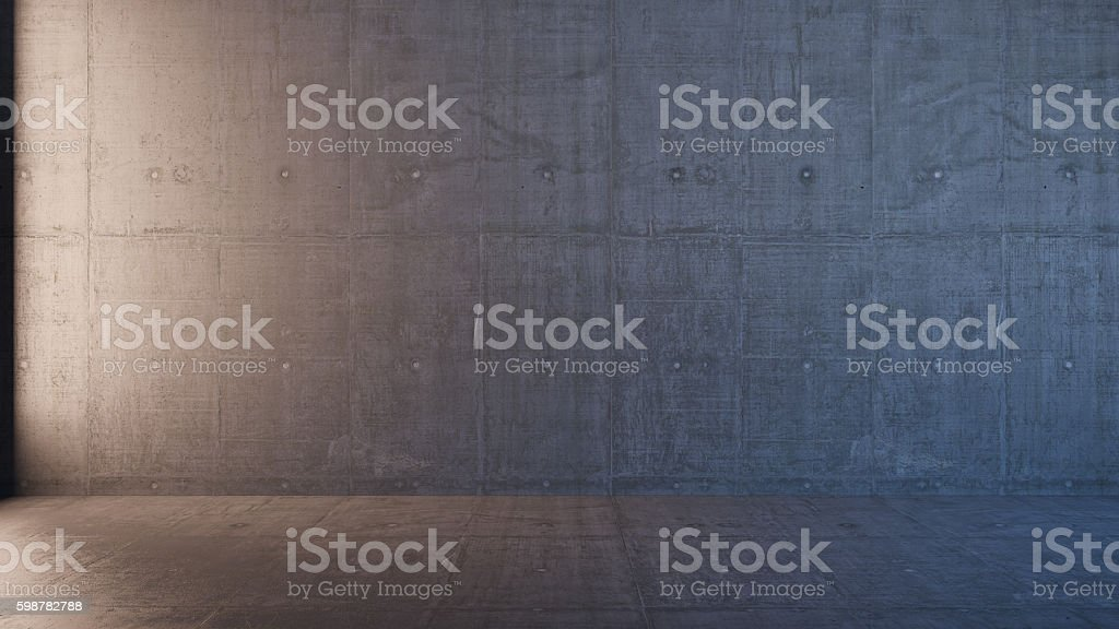 empty 3d interior with concrete walls stock photo