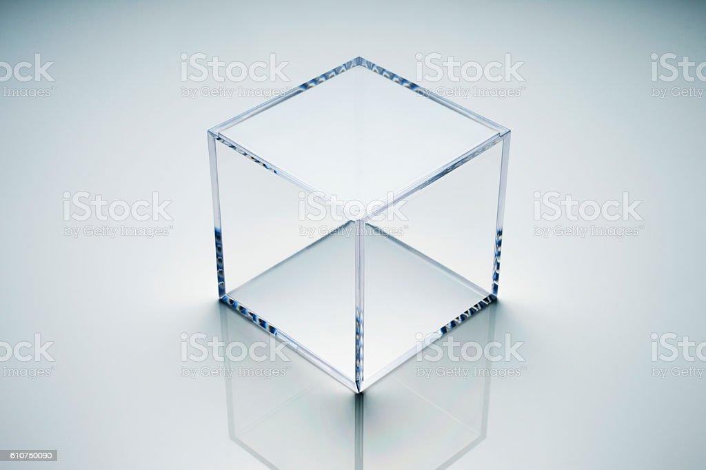 empty acrylic cube stock photo