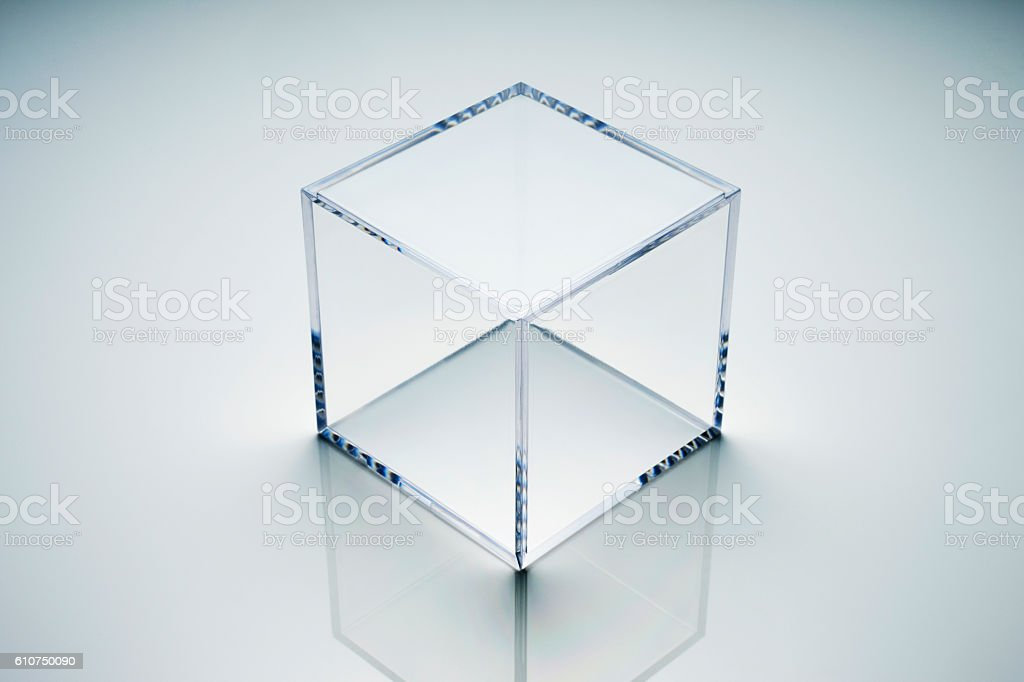 empty acrylic cube stock photo