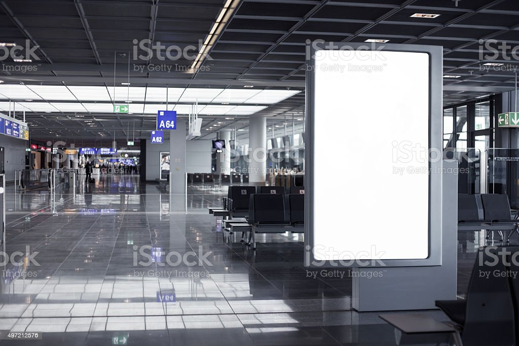 Empty advertising frame in airport stock photo