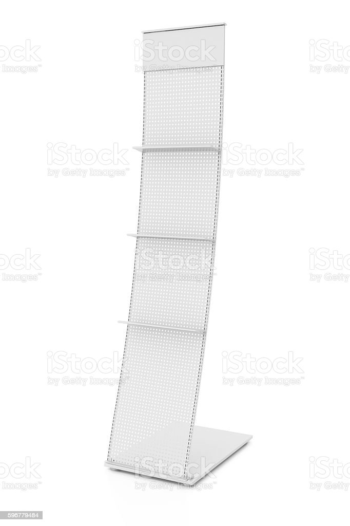 Empty advertising stand with shelves stock photo