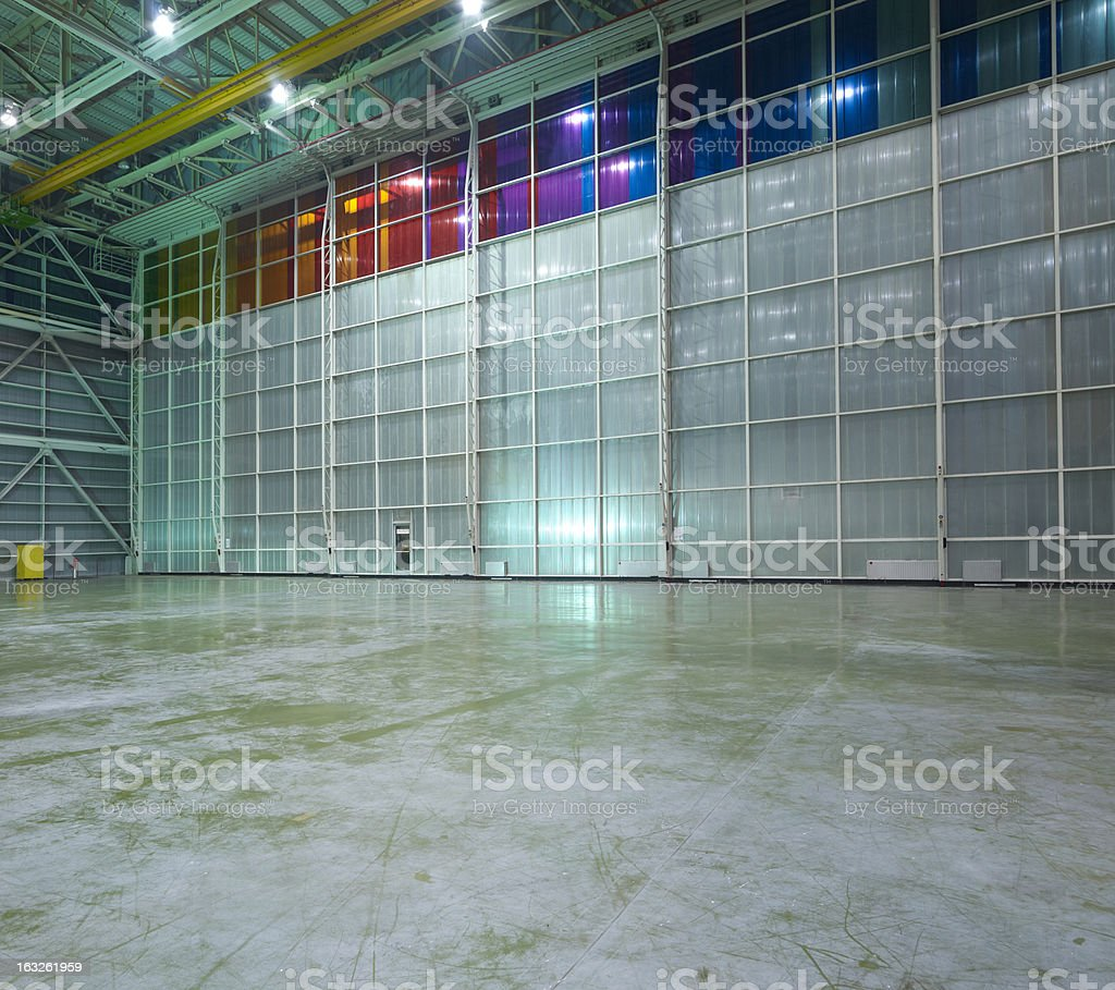 Empty Aircraft hangar stock photo