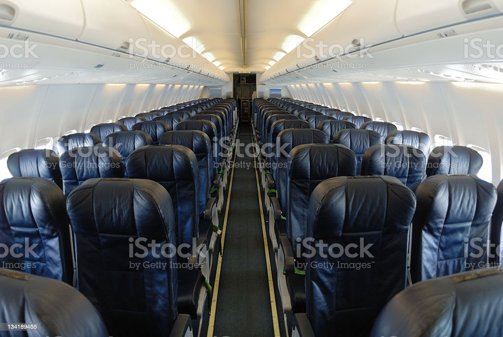 Empty aircraft interior stock photo