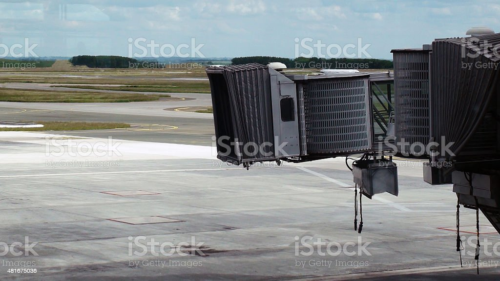 Empty Airplane Boarding Dock At Airport Loading Gate stock photo