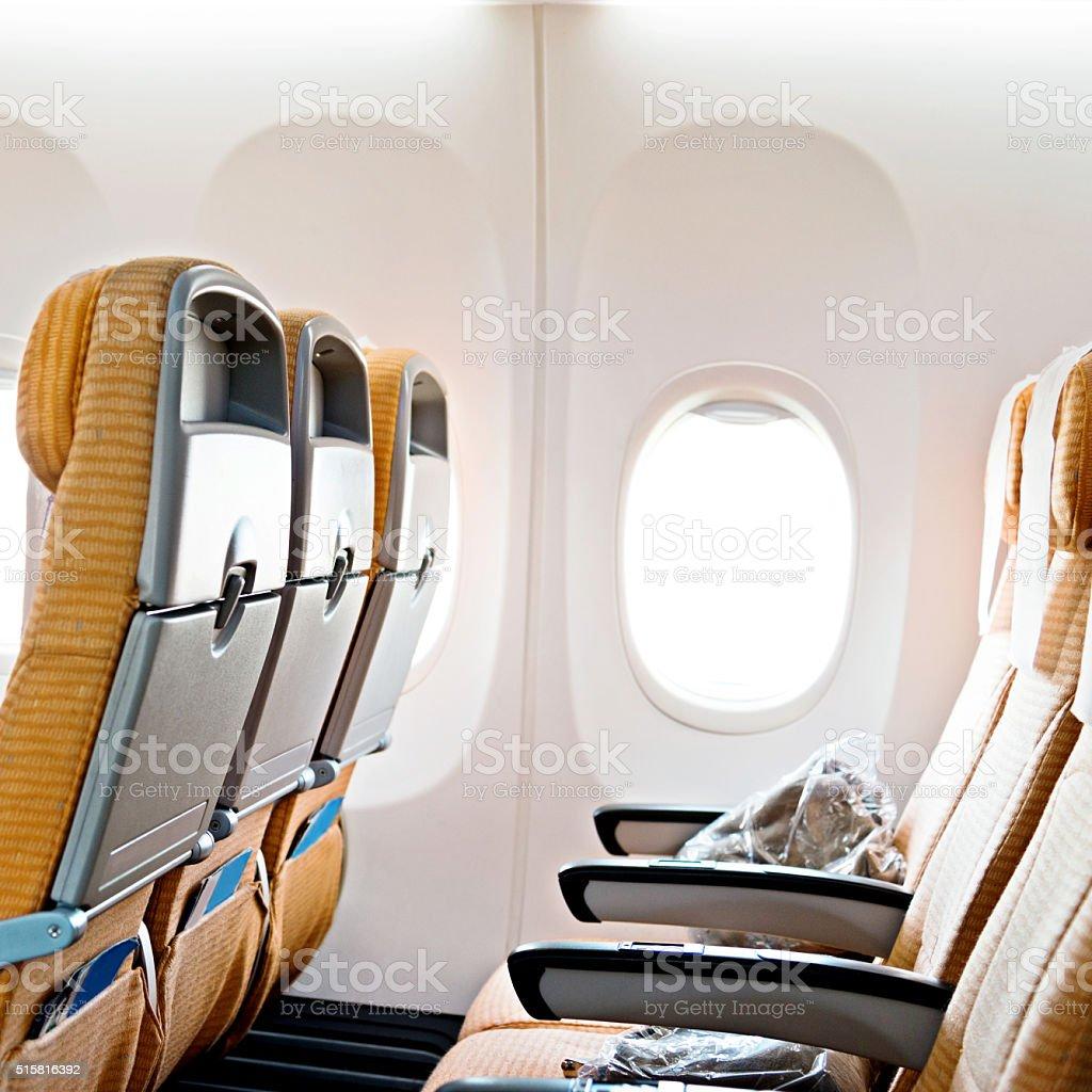 Empty airplane seat stock photo