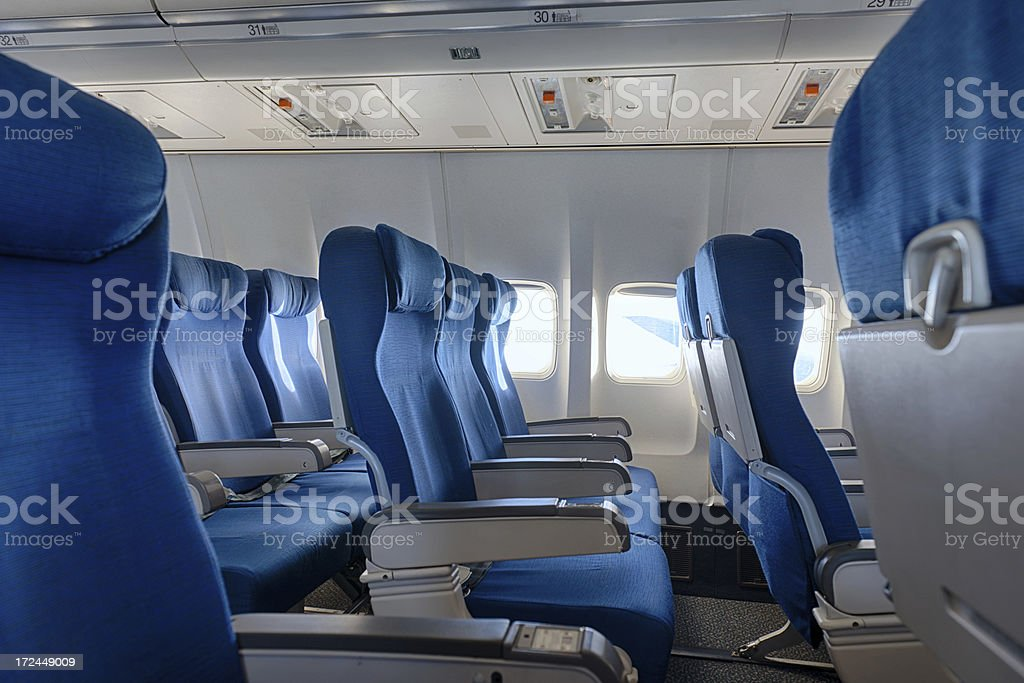 Empty airplane seats royalty-free stock photo