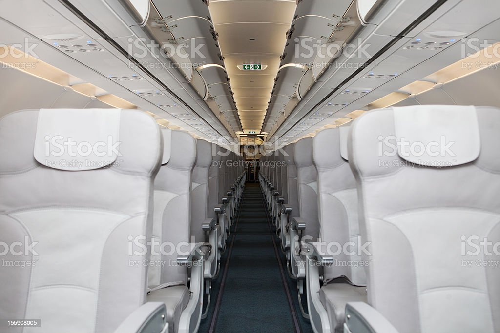 Empty airplane waiting for passangers royalty-free stock photo