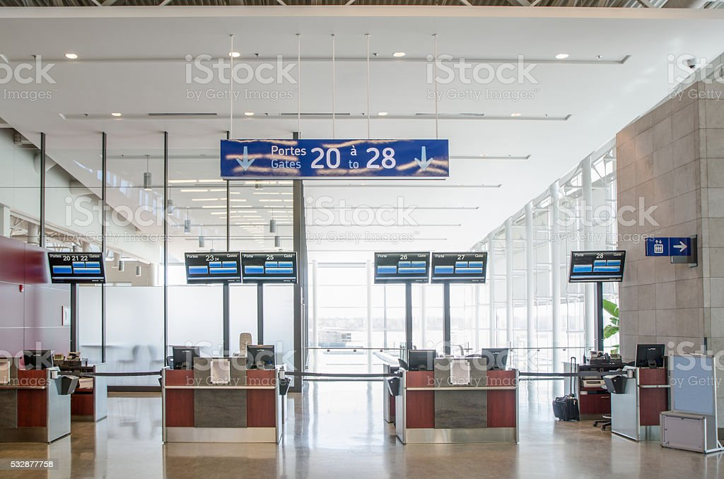 Empty Airport counters or embarkment gate stock photo
