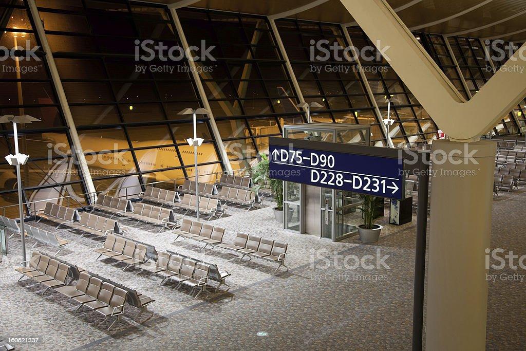 Empty Airport hub at night royalty-free stock photo