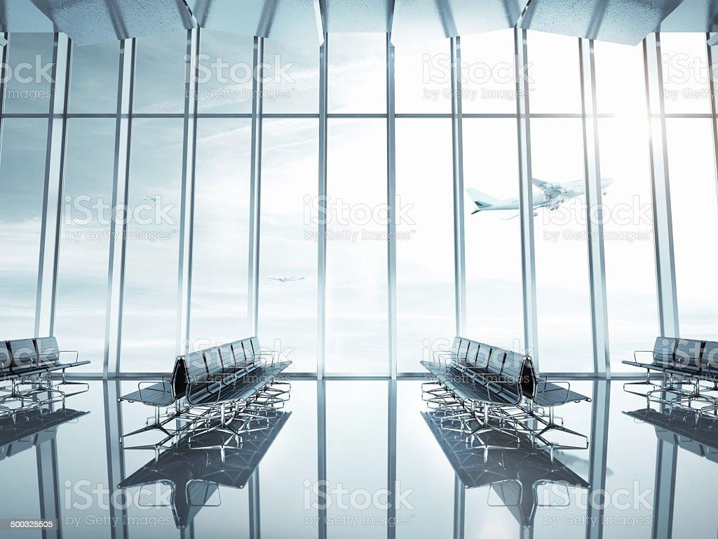 Empty airport interior stock photo